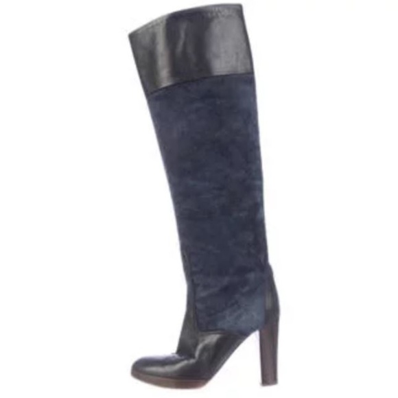 01dd5522ef50 Chloe Shoes - Chloe Navy Blue Leather Suede Knee High Boots
